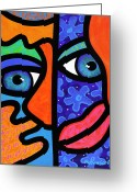 Blue Eyes Greeting Cards - The Answer is Three Greeting Card by Steven Scott