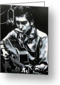 Woody Guthrie Greeting Cards - The answer my friend is blowin in the wind Greeting Card by Luis Ludzska