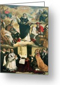 Dominican Greeting Cards - The Apotheosis of Saint Thomas Aquinas Greeting Card by Francisco de Zurbaran