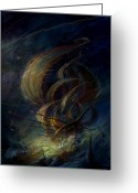 Ships Greeting Cards - The Apparation Greeting Card by Philip Straub