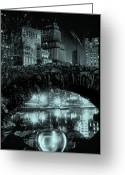 Cities Glass Art Greeting Cards - The Apple At Night Greeting Card by Etti Palitz