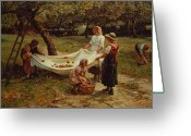 1856 Greeting Cards - The Apple Gatherers Greeting Card by Frederick Morgan