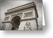 Champs Elysees Greeting Cards - The Arc de Triumph in Paris Greeting Card by Giancarlo Liguori