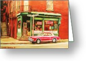 Montreal Street Life Greeting Cards - The Arcadia Five And Dime Store Greeting Card by Carole Spandau