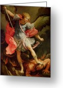 Oil Canvas Greeting Cards - The Archangel Michael defeating Satan Greeting Card by Guido Reni