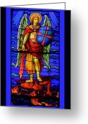 Archangel Greeting Cards - The Archangel Michael Greeting Card by Myrna Migala