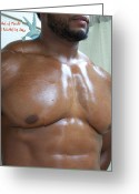 African Warrior Greeting Cards - The Art of Muscle  Totally Pecs Greeting Card by Jake Hartz