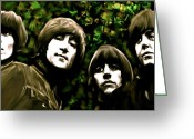 Collectibles Greeting Cards - The Art of Sound  The Beatles Greeting Card by Iconic Images Art Gallery David Pucciarelli