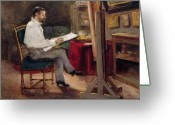 Easel Greeting Cards - The Artist Morot in his Studio Greeting Card by Gustave Caillebotte