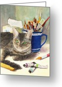 Brushes Greeting Cards - The Artiste Greeting Card by Karen Fleschler