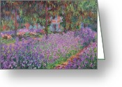 Color Purple Greeting Cards - The Artists Garden at Giverny Greeting Card by Claude Monet