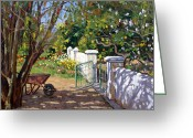 Roelof Rossouw Greeting Cards - The Artists Spring Garden Greeting Card by Roelof Rossouw