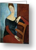 Amedeo (1884-1920) Greeting Cards - The Artists Wife Greeting Card by Amedeo Modigliani