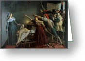 Revolutionaries Greeting Cards - The Assassination of Marat Greeting Card by Jean Joseph Weerts
