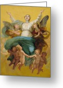 Cherubs Greeting Cards - The Assumption of the Virgin Greeting Card by Pierre Paul Prudhon