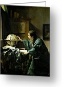 Vermeer Greeting Cards - The Astronomer Greeting Card by Jan Vermeer