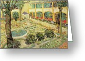 Trees Oil Greeting Cards - The Asylum Garden at Arles Greeting Card by Vincent van Gogh