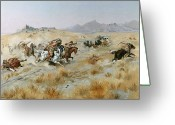 Fighting Greeting Cards - The Attack Greeting Card by Charles Marion Russell