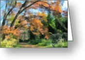 Gold Lame Painting Greeting Cards - The autumn forest Greeting Card by Odon Czintos