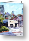 Skylines Painting Greeting Cards - The Avanti on McKinney Ave Greeting Card by Ron Stephens
