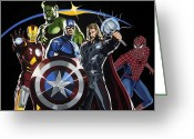 Superhero Greeting Cards - The Avengers Greeting Card by Darrell Hopkins