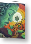 Drawing Pastels Greeting Cards - The Awakening Greeting Card by Kimberly Kirk