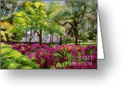 Most Greeting Cards - The Azaleas of Savannah Greeting Card by David Lloyd Glover