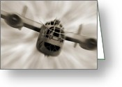 White Digital Art Greeting Cards - The B - 24 Liberator  Greeting Card by Mike McGlothlen