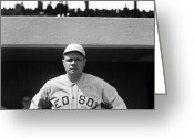 Famous Baseball Stadium Greeting Cards - The Babe - Red Sox Greeting Card by International  Images