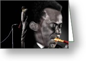 Singer Songwriter Greeting Cards - The Back And The Affront Of Miles Davis Greeting Card by Reggie Duffie