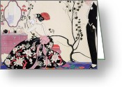 Evening Drawings Greeting Cards - The Backless Dress Greeting Card by Georges Barbier