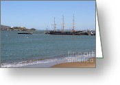 Alcatraz Greeting Cards - The Balclutha . A 1886 Square Rigged Cargo Ship At The Hyde Street Pier Overlooking Alcatraz.7D14068 Greeting Card by Wingsdomain Art and Photography