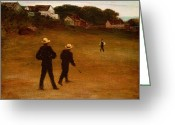 Stickball Greeting Cards - The Ball Players Greeting Card by William Morris Hunt