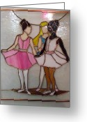 Panel Glass Art Greeting Cards - The Ballet Dancers in Stained Glass Greeting Card by Arlene  Wright-Correll