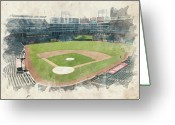 Infield Greeting Cards - The Ballpark Greeting Card by Ricky Barnard