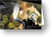 Misfortune Greeting Cards - The Bambi Bucket Attached To A Ch-47 Greeting Card by Stocktrek Images