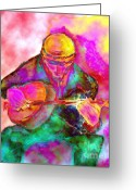 Player Mixed Media Greeting Cards - The Banjo Player Greeting Card by Mimo Krouzian