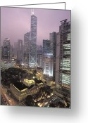 City Lights And Lighting Greeting Cards - The Bank Of China Tower Greeting Card by Richard Nowitz