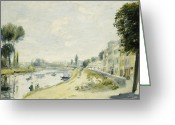 Open Road Painting Greeting Cards - The Banks of the Seine at Bougival Greeting Card by Pierre Auguste Renoir