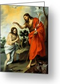 Jesus Painting Greeting Cards - The Baptism Of Christ Greeting Card by Bartolome Esteban Murillo