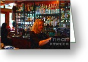 Pubs Greeting Cards - The Barmaid Greeting Card by Wingsdomain Art and Photography