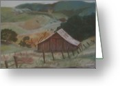 Old Barn Pastels Greeting Cards - The Barn Greeting Card by Colleen Koranek