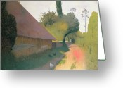 Great Painting Greeting Cards - The Barn with the Great Thatched Roof Greeting Card by Felix Edouard Vallotton