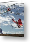Bi Plane Greeting Cards - The Barons Demise Greeting Card by Garry Staranchuk