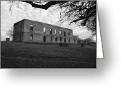 Robyn Stacey Photo Greeting Cards - The Barracks at Fort Washita bw Greeting Card by Robyn Stacey