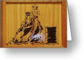 Scroll Saw Sculpture Greeting Cards - The Barrel Racer Greeting Card by Russell Ellingsworth