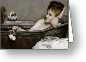 Woman Greeting Cards - The Bath Greeting Card by Alfred George Stevens