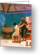Harem Greeting Cards - The Bath Greeting Card by Pg Reproductions