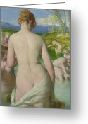 Pond Painting Greeting Cards - The Bathers Greeting Card by William Mulready