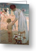Motherly Greeting Cards - The Bathing Hour  Greeting Card by Emmanuel Phillips Fox